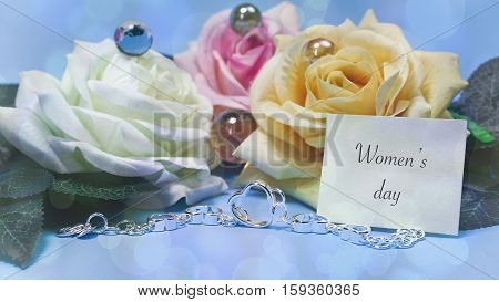 Roses And Jewelry, Blue Background, Words On Paper