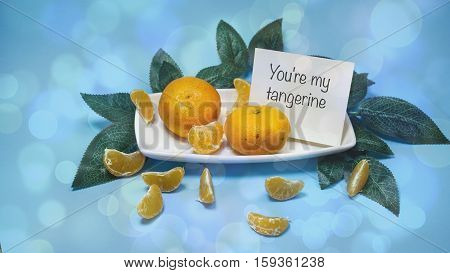 Tangerines With Leaves On A Blue Background, Words On Paper