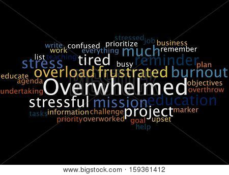 Overwhelmed, Word Cloud Concept