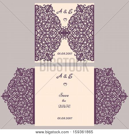 Wedding cutout invitation template. Suitable for lasercutting. Lazercut vector wedding invitation template. Lazer cut vector. Lace folds. Gate fold wedding invitation mockup.