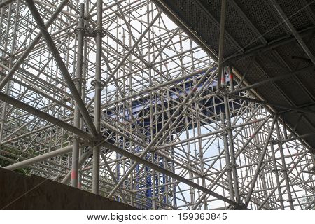 enormous scaffolding for renovation of a bridge