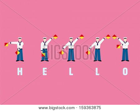 Flat design sailors signaling the word HELLO with flag semaphore system