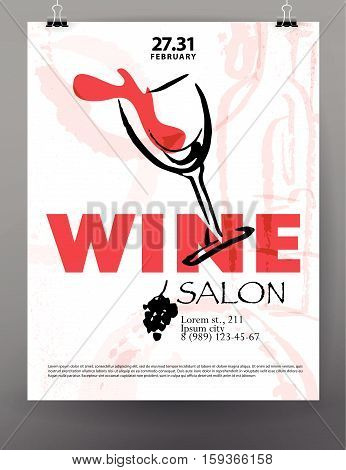 Vector artistic hand drawn wine festival poster design. Ink drawing illustration. Watercolor painting. Business card, banner, exhibition, flayer, leaflet design. Wine logo.
