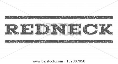 Redneck watermark stamp. Text caption between horizontal parallel lines with grunge design style. Rubber seal grey stamp with dust texture. Vector ink imprint on a white background.