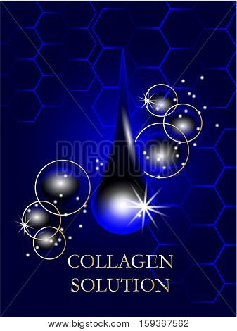 Coenzyme Q10. Supreme collagen oil drop essence with DNA helix. Premium shining serum droplet. Vector illustration.