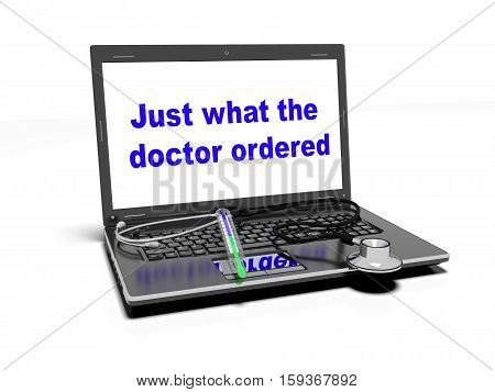 stethoscope on the laptop keyboard on white background
