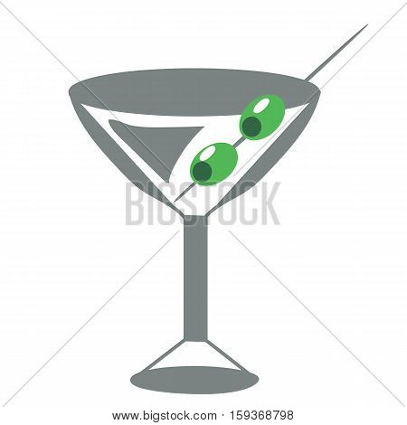 Martini Glass With Olives  - Vector illustration