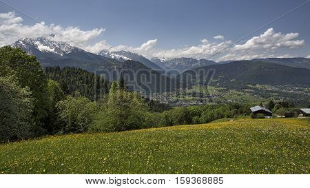 Overlook of valley near Berchtesgaden, Germany, from the Rossfeld Panorama Road