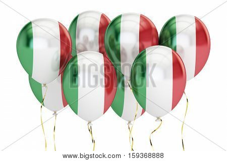 Balloons with flag of Italy holyday concept. 3D rendering isolated on white background