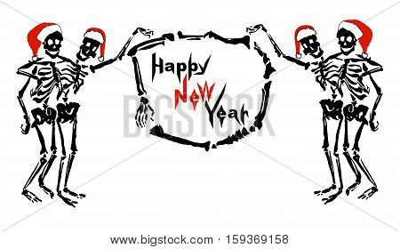 Embracing skeletons in Santa's hats are holding the frame made of bones with inscription Happy New Year. Isolated on white background. Can be used as a greeting card, signboard or invitation.