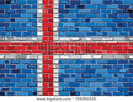 Flag of Iceland on a brick wall - Illustration,  Iceland flag in brick style