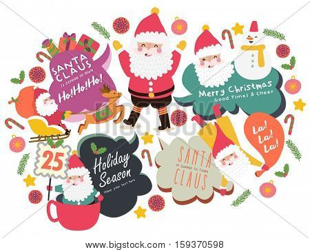 Cute Christmas speech bubbles set/ Merry Christmas
