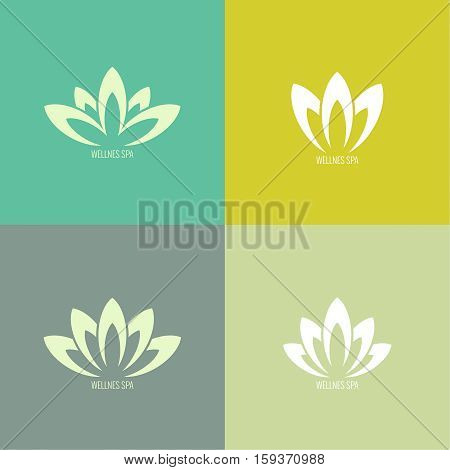 Set Abstract vector logo element. Lotus flower. Icon for beauty, healthcare, wellness, fashion, cosmetic, perfume, yoga emblem, herbal product spa massage salon delicate color