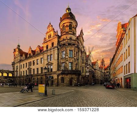 Streets architecture in old town of Dresden in sunset time. Saxony Europe.