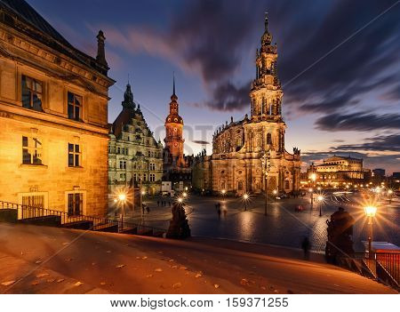 View of Dresden in dramatic evening. Germany Saxony Europe.