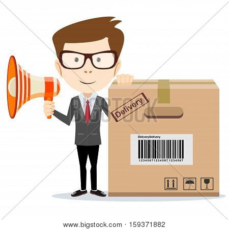 Abstract delivery service man with box and Megaphone . Vector illustration