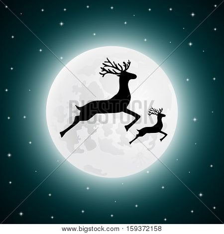 vector illustration Reindeer and baby deer jumping