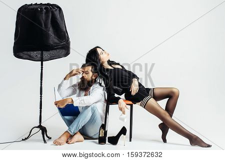 Couple On White Studio Background