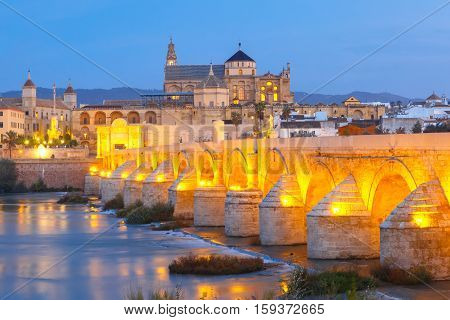Illuminated Great Mosque Mezquita - Catedral de Cordoba with mirror reflection and Roman bridge across Guadalquivir river during morning blue hour, Cordoba, Andalusia, Spain