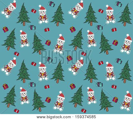 Christmas snowman with X-mas tree and present boxes, seamless vector