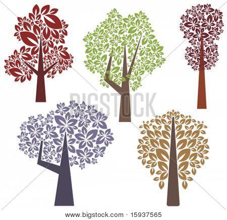 Tek bir stil vektör ağaç tasarımları. Benim portföy daha bu dizi de thousan atın