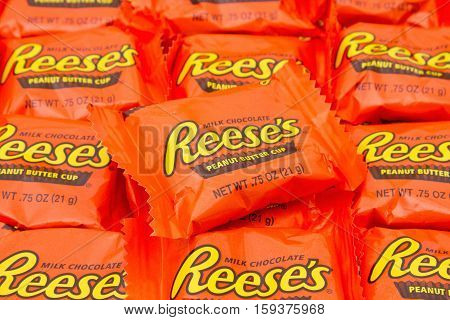 SC, USA Oct 2016. Illustrative editorial image of Reeses Peanut Butter Cup Candy Background. Peanut butter cups are a favorite snack food in the USA