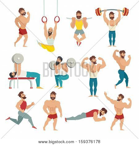 Set of muscular bearded mans vector illustration. Fitness models posing bodybuilding. Sports people in the gym. Gymnastics rings running.Isolated vectorwhite background