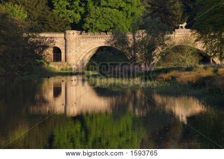 Ducks flying past the Lion Bridge at Alnwick castle poster