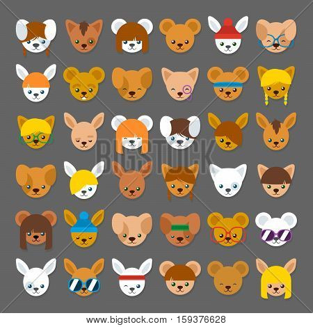 Large collection of colorful cartoon animal head avatars for internet identification with a cat bear rabbit and mouse with different accessories or hairstyles vector illustration