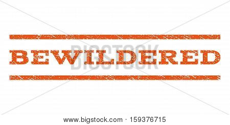 Bewildered watermark stamp. Text caption between horizontal parallel lines with grunge design style. Rubber seal orange stamp with scratched texture. Vector ink imprint on a white background.