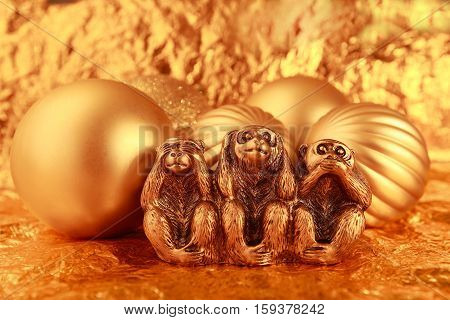 Morality, See no Evil Hear no Evil Speak no Evil, Monkey, Three Objects, Ape gold Christmas balls