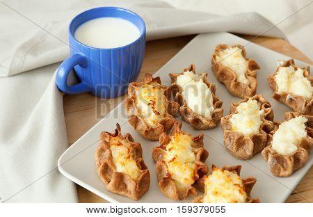 Traditional Karelian Pasties And Cup Of Milk