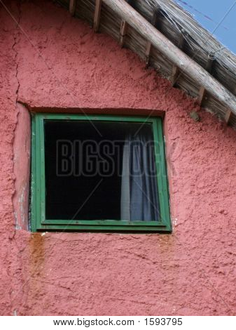 Green Window Pink Wall