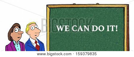 Color business illustration of two businesspeople and the words 'we can do it'.