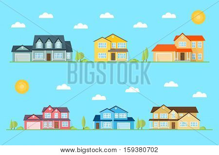 Neighborhood with homes illustrated on the blue background. Vector flat icon suburban american houses day, night. For web design and application interface, also useful for infographics. Vector illustration.