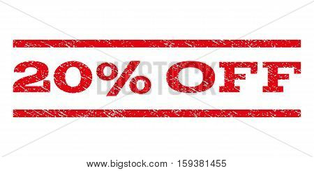 20 Percent Off watermark stamp. Text caption between horizontal parallel lines with grunge design style. Rubber seal red stamp with scratched texture. Vector ink imprint on a white background.