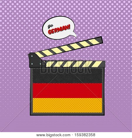 Concept of learning languages, study German Language. Movie clapper board with pop-art style German flag.