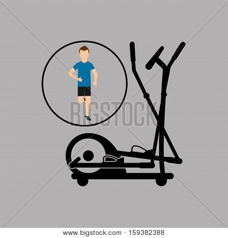 sport man running elliptical trainer vector illustration eps 10