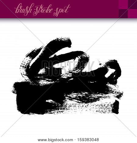 black ink hand drawing brush strokes spot element isolated on white background for your design, vector illustration