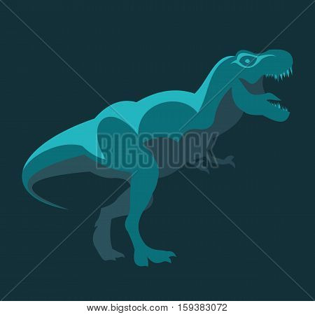 T-rex Dinosaur cartoon blue flat design style vector stock