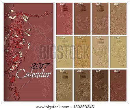 Calendar 2017 Year With Mythical Birds