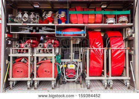 Fire truck interior with fire fighting equipment