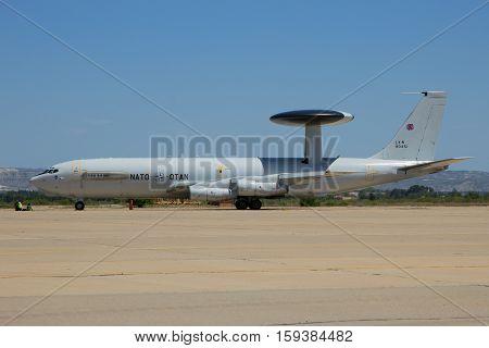 ZARAGOZA SPAIN - MAY 202016: AWACS E-3 Sentry radar plane from NATO on the Tarmac of Zaragoza airbase