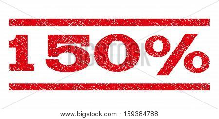 150 Percent watermark stamp. Text caption between horizontal parallel lines with grunge design style. Rubber seal red stamp with scratched texture. Vector ink imprint on a white background.