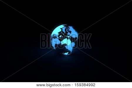 Abstract 3d model of blue glowing earth globe on black background. Front Australian continent