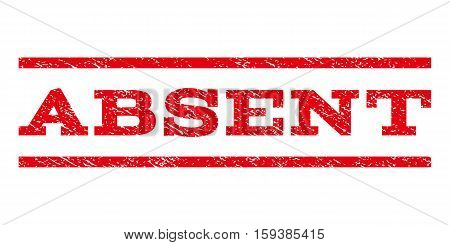 Absent watermark stamp. Text caption between horizontal parallel lines with grunge design style. Rubber seal red stamp with scratched texture. Vector ink imprint on a white background.