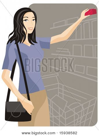 Warenkorb-Vektor-Abbildung-Serie. Shopping Girl. Überprüfen Sie mein Portfolio für viel mehr von dieser Serie