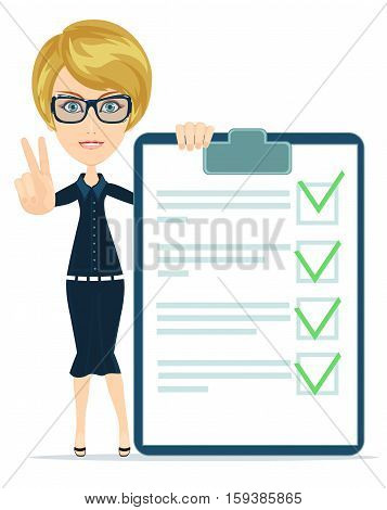 funny businesswoman with checklist. Stock vector illustration