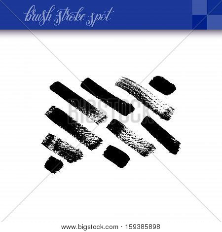 black ink abstract hand drawing brush strokes spot element isolated on white background for your design, calligraphy vector illustration