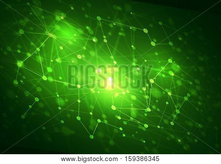 Abstract connection green structure as connection concept on color background